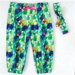 Harem Pants & Head Scarf Set - Girls - Geometric Blocks - Green - Retro