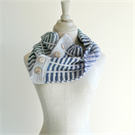 handknit wool button cowl scarf, wool and silk scarf, winter fashion, made to or