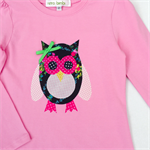 Hoots Owl Top - Pink - Girls - Navy - Floral