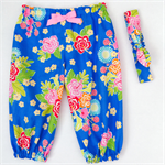 Harem Pants & Head Scarf Set - Girls - Blue - Pop Floral - Red - Yellow