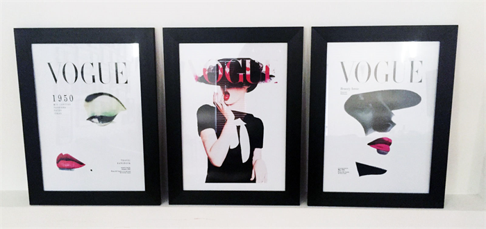 3 x Vogue Covers Vintage Framed Replica Poster Prints Home Decor Art ...