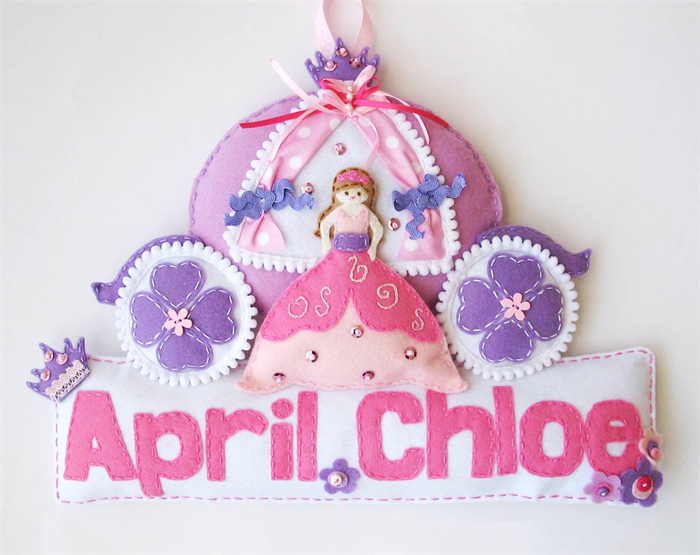 princess made to order personalised felt name banner plaque