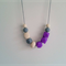 Silicone Teething Necklace - Abstract Purple and Grey