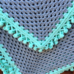Crochet Baby Blanket Grey and Mint Pom Pom