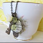 Elizabeth Bennet Charm Necklace Yellow Beaded Jane Austen Vintage Key Skeleton