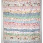 """Vintage Flowers""  Ruffled Cot Quilt"