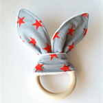 Wooden teething ring bunny ear grey orange star rock'n'roll
