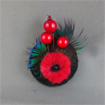 Felt and Feather Design Brooch - Winter Reds
