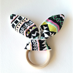Wooden teething ring bunny ear Aztec geometric