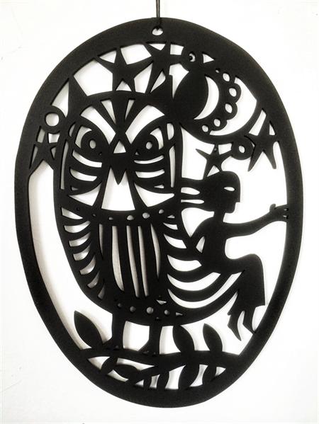 Girl with Owl woodcut