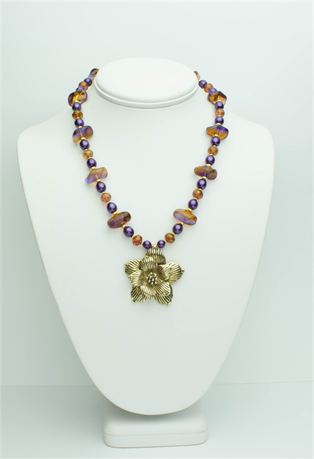 Purple Necklace with Matching Earrings