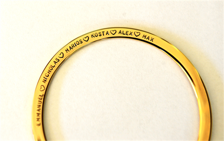 Hand Stamped Bangle Childrens Names Hypo Allergenic Stainless Steel Mum Gift