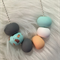 Polymer Clay Beaded Necklace. Mint, Peach, Grey, White, Copper