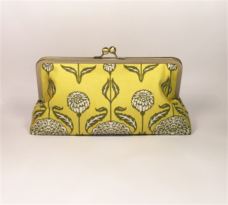 Chrysanthemum in sage large clutch purse
