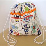 Drawstring Back Pack, Drawstring Bag, kids bag, Blue Robots