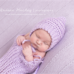 Swaddle Sack and Pixie Bonnet Set / Newborn Photography Prop / Lilac
