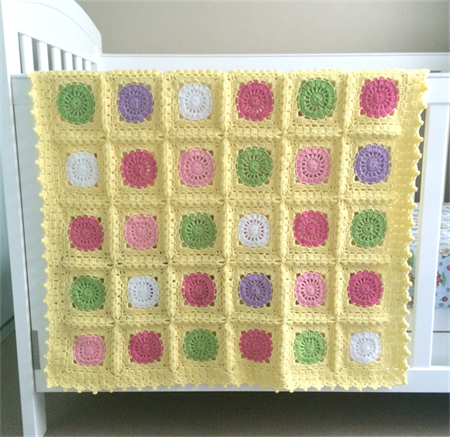 Crochet blanket, yellow with  circles, pink, green, purple, acrylic yarn, decor