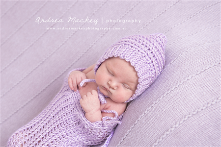 Swaddle sack and pixie bonnet set newborn photography prop lilac