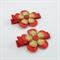 Red & Gold Flower Hair Clip Pair