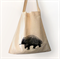 Screen printed Australian echidna calico shoulder bag