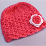 crochet hat | girl | watermelon pink, white flower | gift | newborn - 18 months