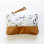 Floral silk and leather clutch