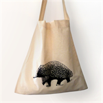 Screen printed Australian echidna calico shoulder bag