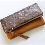 Bronze sequin and leather fold over clutch