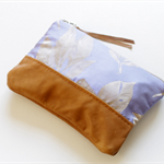 Silk brocade and leather clutch