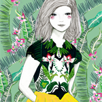 Ferns and Fuschia modern bright fashion illustration inspired by nature