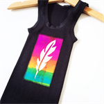 Fun Brightly Coloured Baby Singlets, Screen printed Fluro Feather, size 0