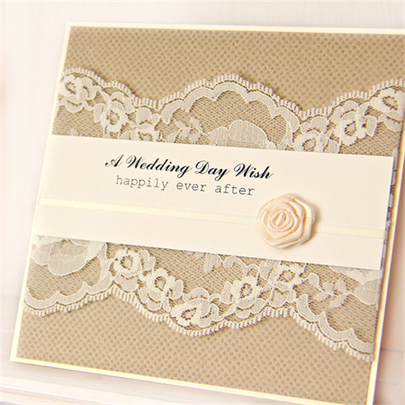 Wedding card vintage lace cream ribbon rose happily ever after