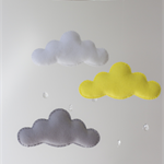 Yellow, Grey and White Cloud Mobile with Raindrops Felt Baby Nursery