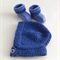 Hand Knit, 0-6m, Wool Baby Cap Hat & Bootie Shoes, Blue