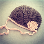 Girls Crochet Hat in Soft Merino Wool Taupe with Pink Trim and Flower