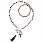 Boho Smokey charcoal grey and black tassel necklace