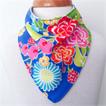 Bandanna Bib - Pop Floral - Blue - Hibiscus - Red - Yellow
