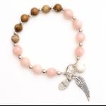 Boho Caramel and pink bead bracelet with charm tassel