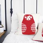 Babushka Doll Throw Pillow in Red – stacking doll, russian doll, matryoshka doll