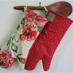 Red Country Rose, Sustainable Long Oven Gloves.