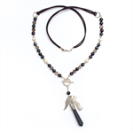 Boho black crystal point necklace on suede