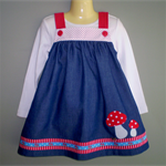 """Mushroom Magic"" Denim Pinafore"