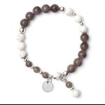 Boho smokey charcoal grey jade bead bracelet