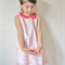 Girls A line dress with sewn on Necklace Pink Gold Sz 4