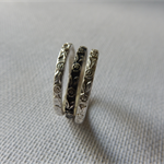 Sterling silver rose patterned stacking ring set, Silver & Oxidised. 2mm bands