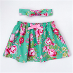 Betty Skirt & Head Scarf Set - Melody - Floral - Green - Pink