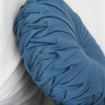 Indigo Vintage Style Linen round cushion