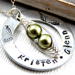 Two Peas In A Pod Jewellery Hand Stamped Washer Necklace Mothers Necklace