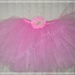 HandmadeLight PinkTutu with detachable flower hair clip - Size 1- skirt