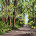 Summer Forest, Trees, Path, Original Landscape Painting, Acrylic painting